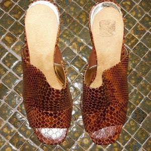 Enzo Angiolini Shoes - 👡 Snake-print /Open-toe /Leather Mules!